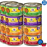 Wellness Natural Premium Canned Cat Wet Food Pate - 12 Pack Cans Variety Bundle Pack 4 Flavor - (Chicken,Beef, Salmon & Turkey) W/HS Pet Food Bowl - (3 Ounce)