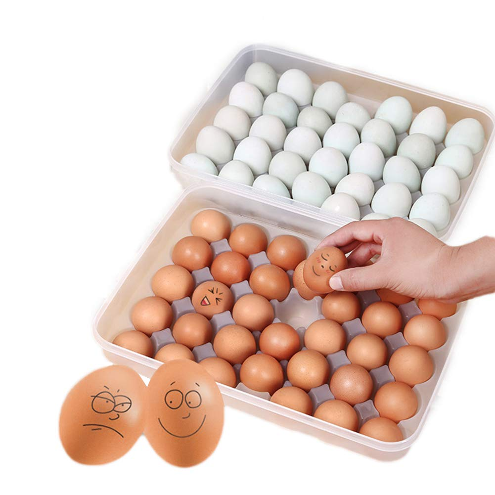 SODIAL Sereno 34 griglia single-layer Egg Box carrello Organizzatore di plastica uovo contenitore di alimento Storage Box della cucina della casa di caso scatola delle uova