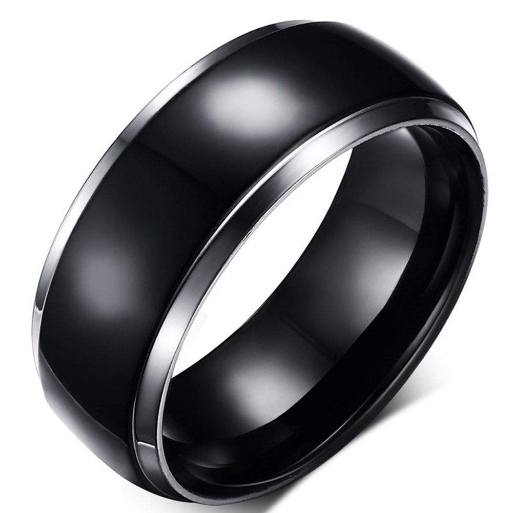 SAINTHERO Men's Wedding Bands Vintage 8MM Tungsten Titanium Steel Enternity Promise Rings for Him High Polished Comfort Fit Size 7 by SAINTHERO (Image #1)
