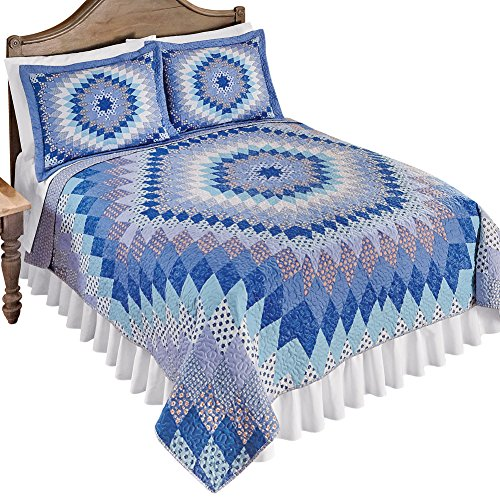 Collections Etc Springfield Reversible Geometric/Floral Patchwork Quilt, King