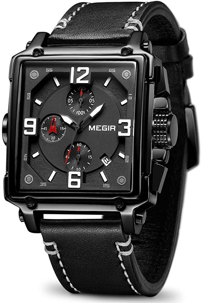 MEGIR Men's Analogue Army Military Chronograph Luminous Quartz Watch with Fashion Leather Strap for Sport & Business Work ML2061G