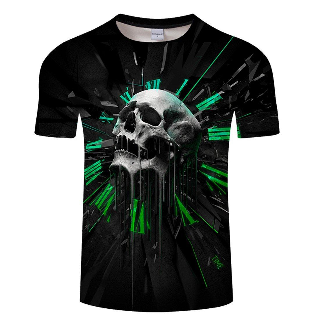 6d71eff839cf23 YICHUN Homme Femme Tops T-Shirt de Loisir Tête de Mort Crâne Tunique Tees  Chemisier Blouse Maillots de Sport  Amazon.fr  Vêtements et accessoires