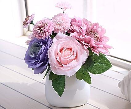 LeLehome Bridal Bouquet Flower Arrangement Home Decorative Real Touch Silk Artificial Floral Decor