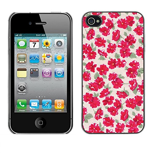 Soft Silicone Rubber Case Hard Cover Protective Accessory Compatible with Apple iPhone? 4 & 4S - flowers wallpaper vintage pink