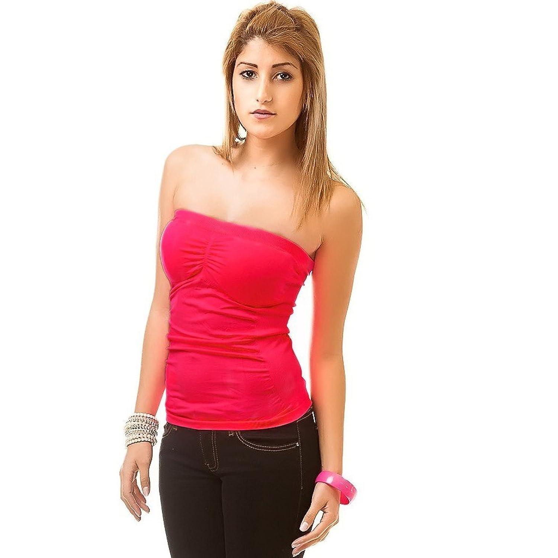 24brands Bandeau Top Longtop Kleid Push Up Oberteil Sommerkleid Damen Kurz (1892), Größe:34 /36/ 38;Farbe:Pink (Neon)