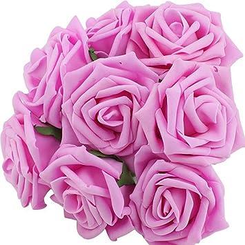 Amazon leegoaltm artificial rose flowers bridal wedding leegoaltm artificial rose flowers bridal wedding bouquets dark pink 20pcs mightylinksfo