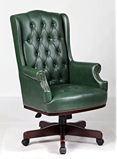 Chesterfield leather captains chair brand new with gas lift in top