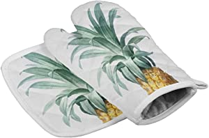 Chic Decor Home Set of Oven Mitt and Pot Holder Simple Pineapple Kitchen Mittens Heat Resistance Non-Slip Surface for Kitchen BBQ Cooking Baking Grilling,Tropical Fruit