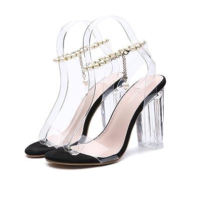 dd41995b23 Popoye Women's Crystal Chunky High Heels Sandals Transparent Upper Peep Toe  with Pearl Chain Black UK