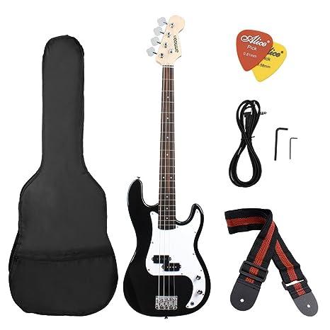 ammoon Madera Maciza Guitarra Bass Eléctrica Estilo PB Cuerpo de Tilo Palisandro con Estuche Correa Cable