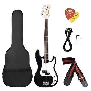 ammoon Madera Maciza Guitarra Bass Eléctrica Estilo PB Cuerpo de Tilo Palisandro con Estuche Correa Cable Pastillas: Amazon.es: Instrumentos musicales