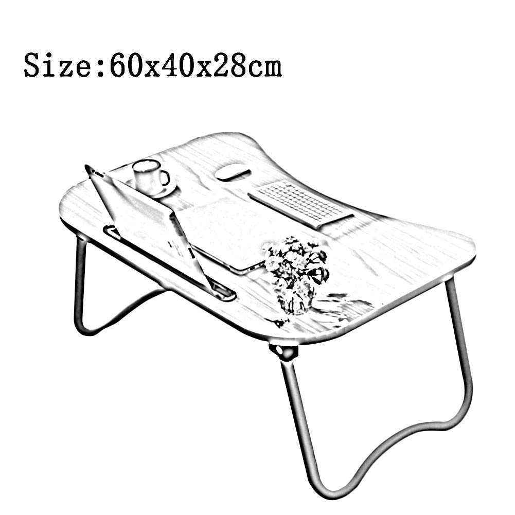 Small Bed Table Laptop Desk Breakfast Serving Tray Lazy Holder Foldable Portable Multifunction 6 Colors GAOFENG (Color : Black, Size : 604028CM) by GAOFENG-Folding Table (Image #2)