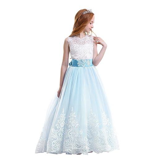 Kid Girl Lace Flower Tutu Dress Floor Length Wedding First Communion Dance  Evening Junior Bridesmaid Trailing 5575026de9e6