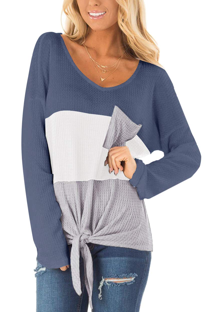 SAMPEEL Womens Waffle Knit Tops V-Neck Casual T Shirt Tie Knot Loose Fitting Sweater
