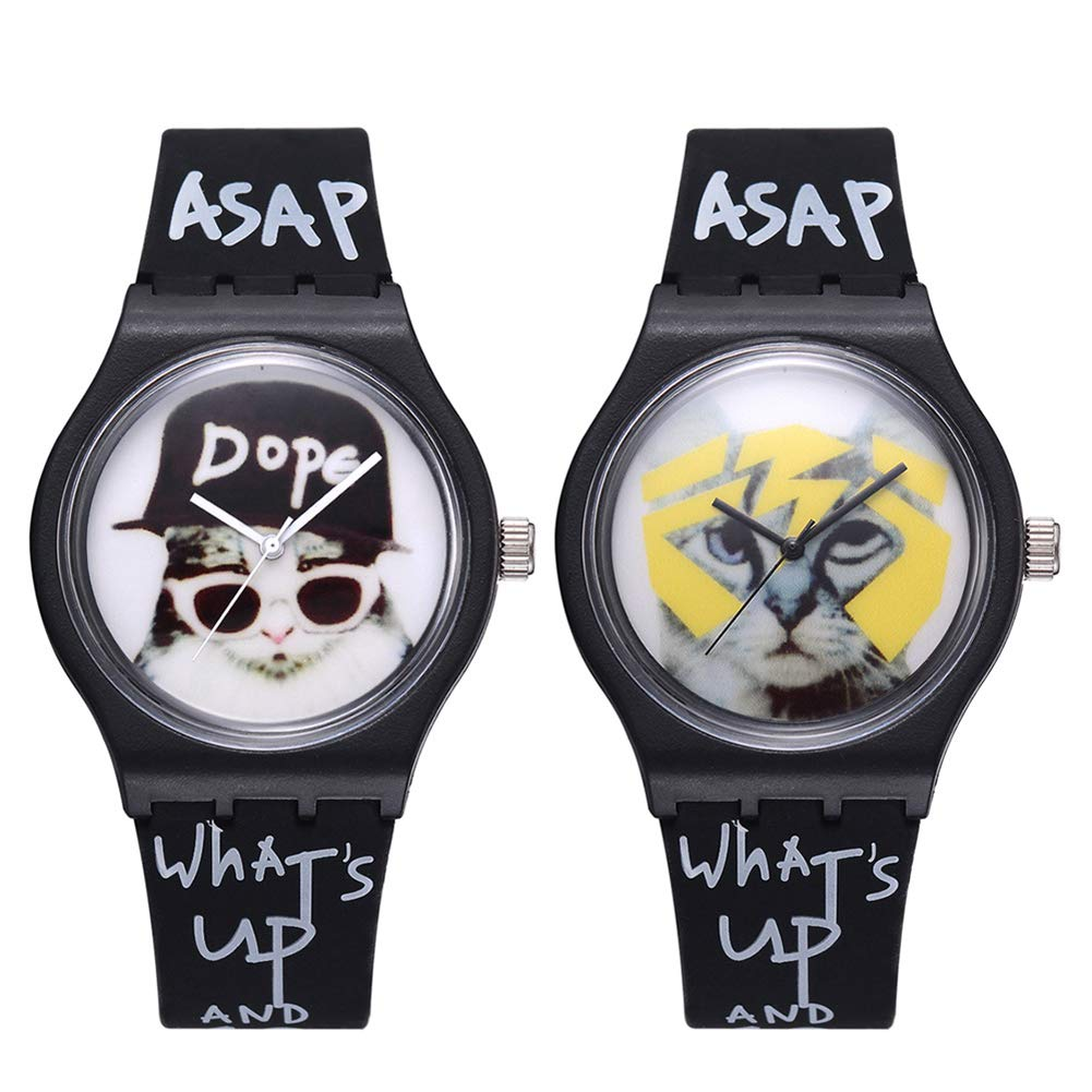 Cool Boys Girls Letters Cat No Numbers Analog Quartz Silicone Band Wrist Watch by Gaweb (Image #2)