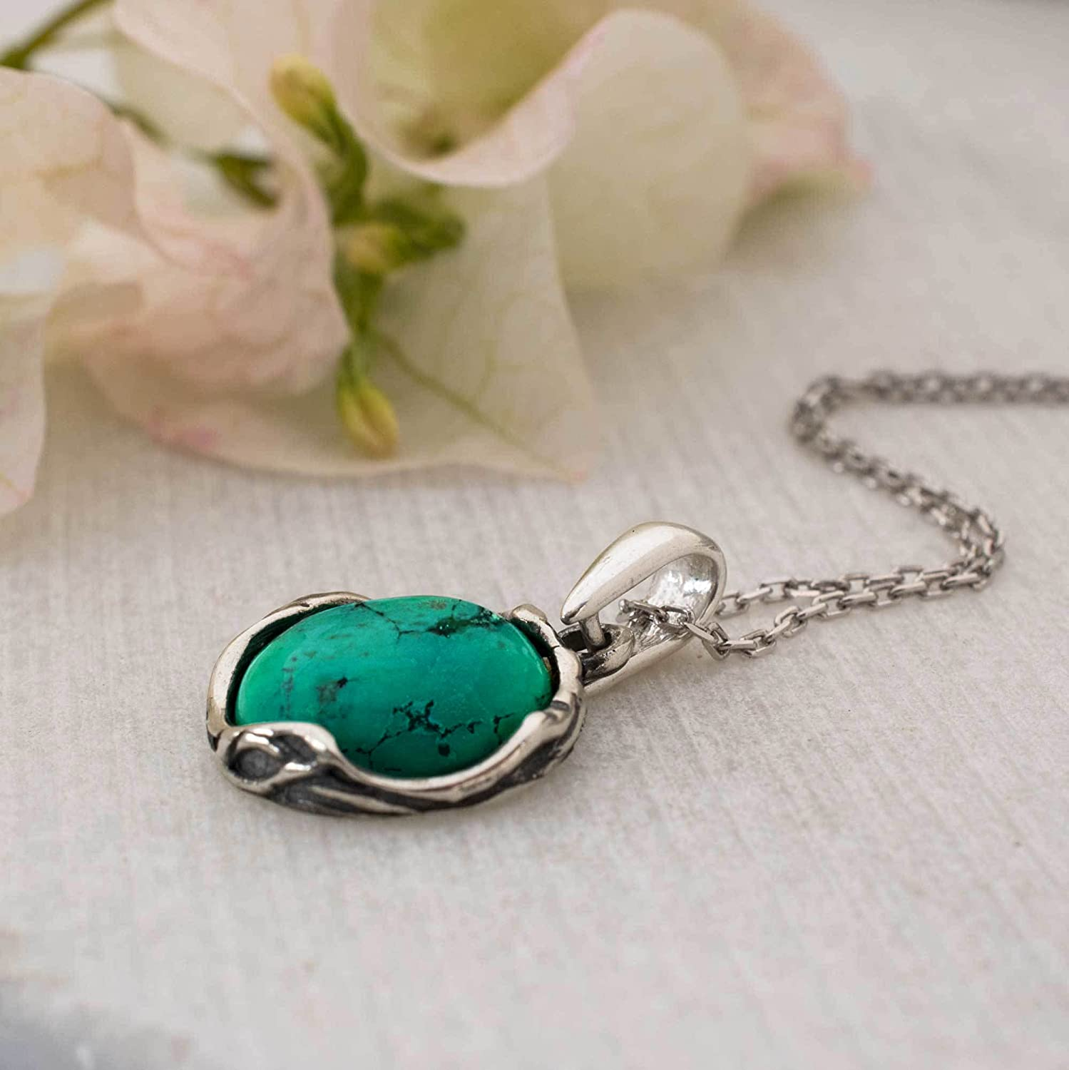 Turquoise Jewelry Necklace For Girls Turquoise Desinged Pendant 925 Sterling Silver Turquoise Necklace December Birthstone Necklace