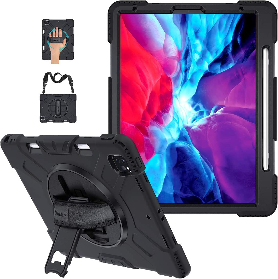 iPad Pro 12.9 Case 2020 4th Generation with Pencil Holder, Military Grade 15ft Drop Tested Heavy Duty Rugged Silicone Protective Cover + Stand + Hand & Shoulder Strap for iPad 12.9 Inch 2018 3rd Gen