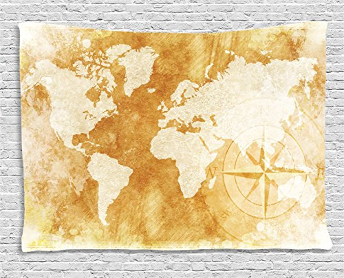 Ambesonne Brown Tapestry Wall Hanging, Old-Fashioned World Map Design with Compass in Retro Distressed Colors Continents Earth, Bedroom Living Room Dorm Decor, 80 W X 60 L Inches, Amber Cream ()