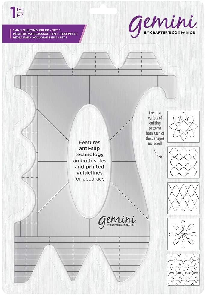 Transparent Gemini GEM-6QUILTR-1 Gemini-6-in-1 Quilting Pattern Guide-Set 1 us:one size