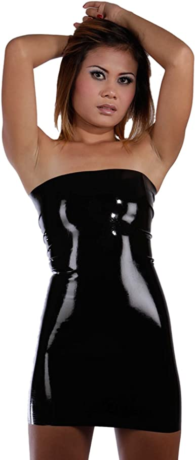 Brand New Latex Rubber Gummi Black Combination Bra and Bikini one size