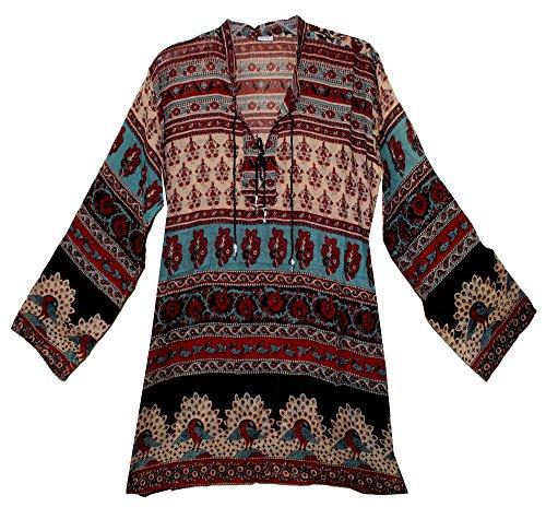 Hippie Tunic Blouse - FOI Indian Vintage Pattern Cotton Hippie Blusa Top Dress Blouse Women Ehs