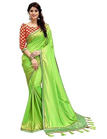 Monjolika Fashion Women S Two Tone Silk Saree 30687 Parrot Green Freesize