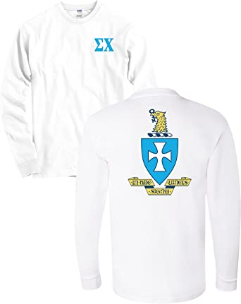 sigma chi fraternity crest and letters white long sleeve shirt white small
