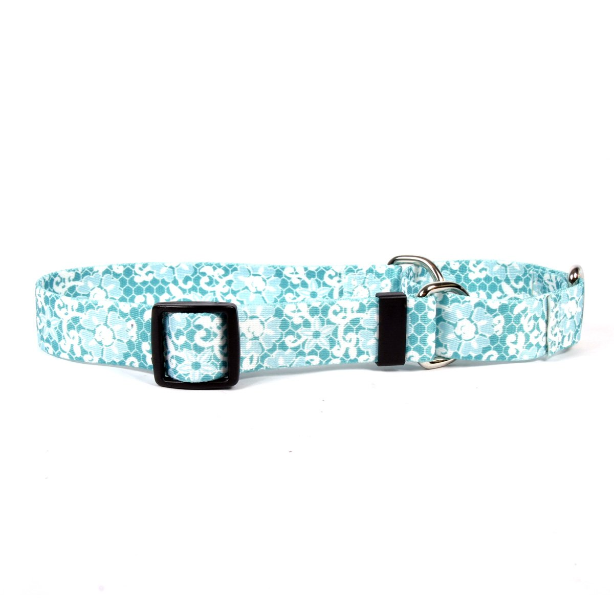 Yellow Dog Design Teal Lace Flowers Martingale Dog Collar-Size Large-1'' Wide and fits Neck 18 to 26'' by Yellow Dog Design