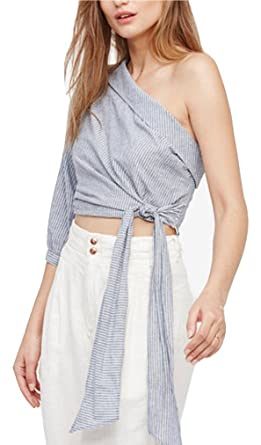 e5ad963c13 Free People Womens Get Down Pinstriped Tie-Side Casual Top Blue 0 at ...