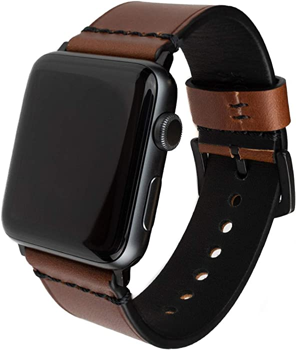 Grit & Grazia Premium Leather Apple Watch Band for 42mm 44mm, Stylish Replacement Vintage Apple Watch Leather Bands Men iWatch Series 6, SE, 5 4 3 2 1 Stainless Steel Buckle (Chestnut Brown, 42/44mm)