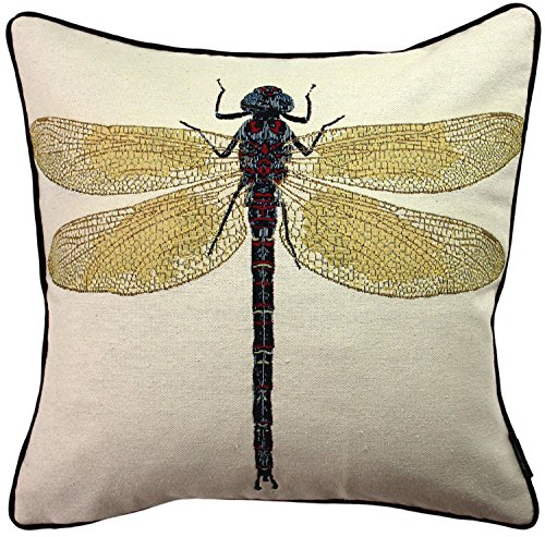 McAlister Textiles Bugs Life | Woven Tapestry Dragonfly Pillow Cover | Yellow Embroidered 16x16 Throw Cushion Case | Textured Linen, Crewel Needlepoint | Country Accent -