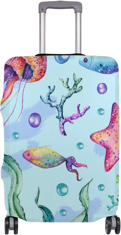 Travel Luggage Cover Painted Coral Jellyfish Starfish Seaweed Suitcase Protector