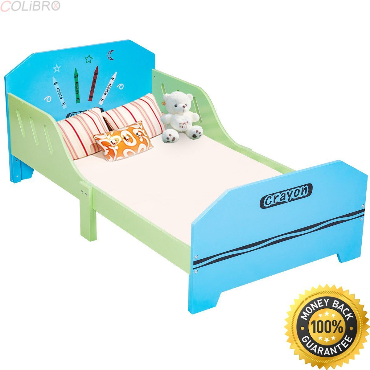COLIBROX Crayon Themed Wood Kids Bed with Bed Rails for Toddlers and Children Colorful. solid wood children's bedroom furniture. wooden toddler bed with drawer. non toxic twin bed.