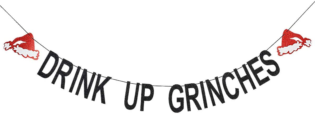 Black Glittery Drink Up Grinches Christmas Hat Banner- Christmas Party Holiday Decoration Supplies