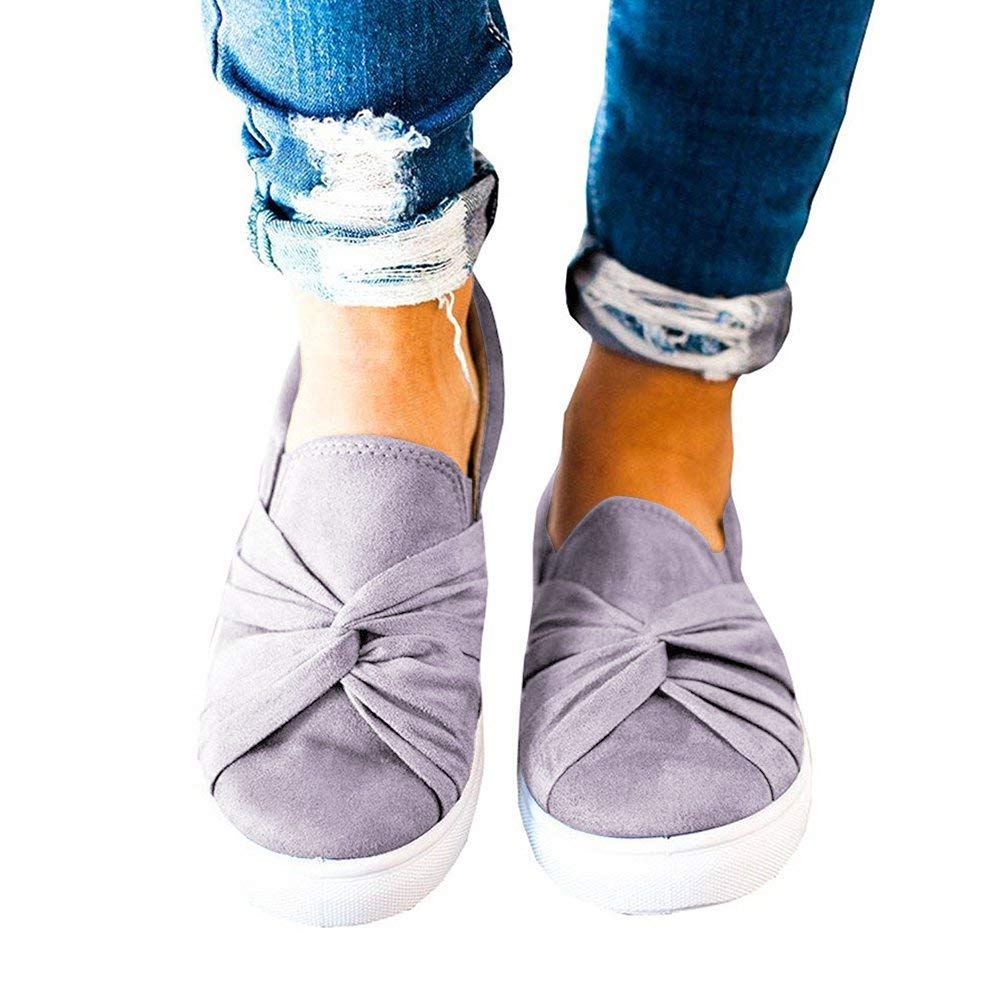 Minetom Womens Slip On Top Ruched Knot Flatform Fashion Sneakers Gray 8 B (M) US