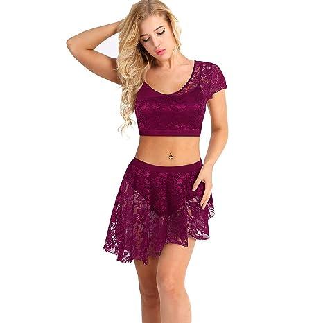 dPois - Vestido de Danza para Mujer, de Malla, con Encaje, con ...