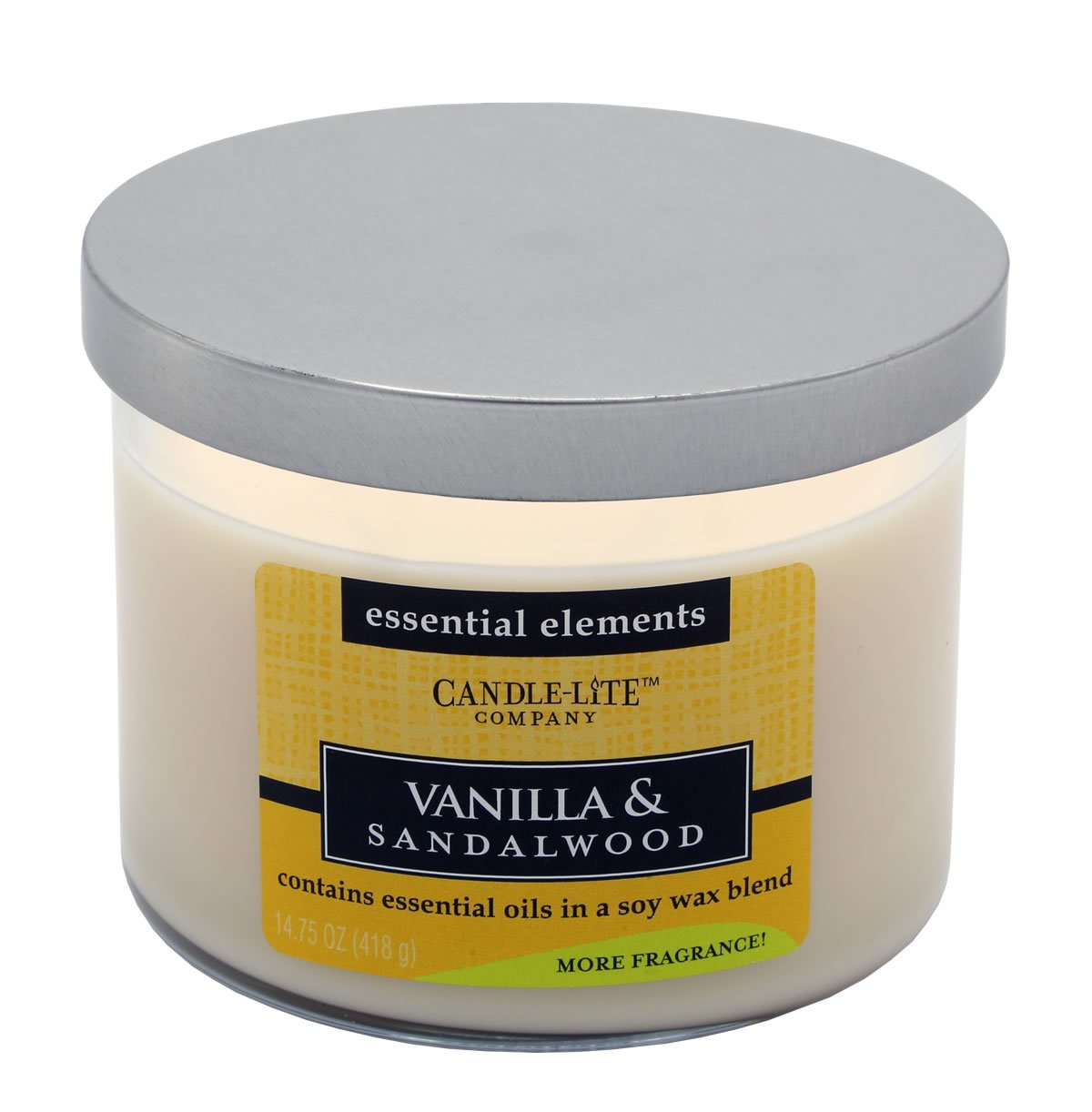 Candlelite Essential Elements 14-3/4-Ounce 3 Wick Candle with Soy Wax, Vanilla and Sandalwood by Candlelite (Image #2)