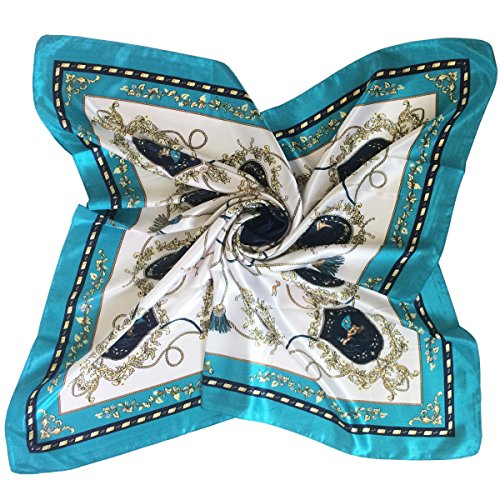 K-Elewon Silk Scarf Women's Large Square Satin Hair Scarf 35 x 35 inches (071 Green)