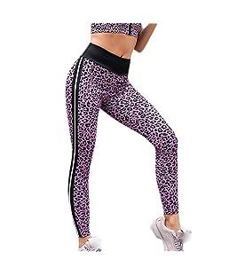 Zilosconcy Leggings Deportes Pantalones de Mujeres de Moda Empalme Estampado de Leopardo Rayas Cintura Alta Gimnasio Athletic Entrenamiento Fitness Gym Skinny Mallas de elásticas Pantalón Largo Yoga