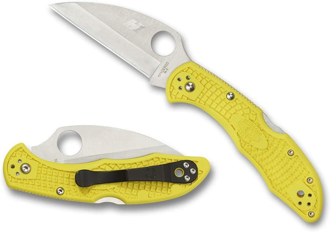Spyderco Salt 2 Lightweight Folding Knife – Yellow FRN Handle with PlainEdge, Hollow Grind, H-1 Steel Wharncliffe Blade and Back Lock – C88PWCYL2