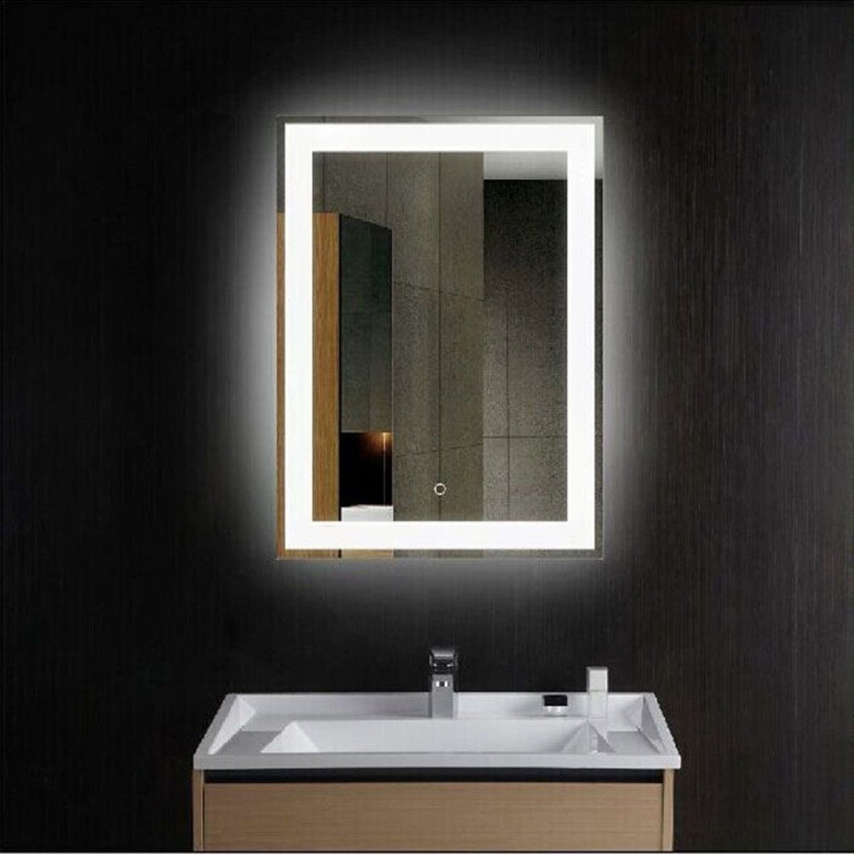 CO-Z Wall Mounted LED Mirrors, Modern LED Lighted Bathroom Mirror, Dimmable Rectangle Touch Wall Mirror with Dimmer Lights, Contemporary Light Up Bathroom Vanity Mirror with Lights 24 x 30 Inch