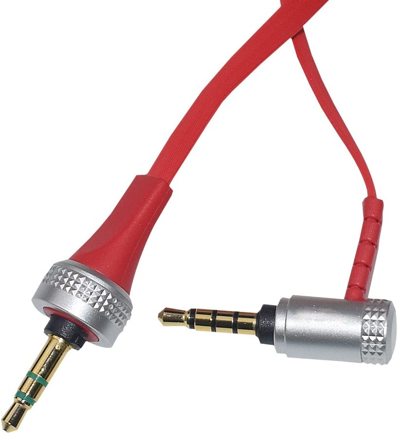 Headphone Replacement Aux Flat Cable Inline Mic and Volume Control Audio Cord Compatible Sony MDR-X10 MDR-XB920 MDR-X910 Headphones Red