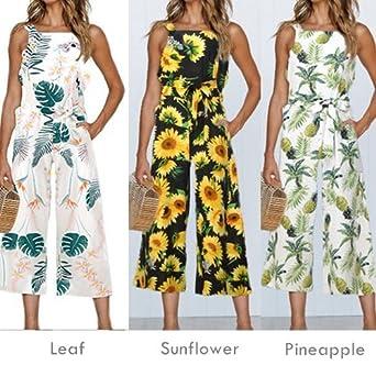 105c426d9cea Amazon.com  INIBUD Jumpsuits for Women Floral Leaf Waist Tie Wide Leg  Chiffon Cute Loose Sleeveless Cute Summer  Clothing