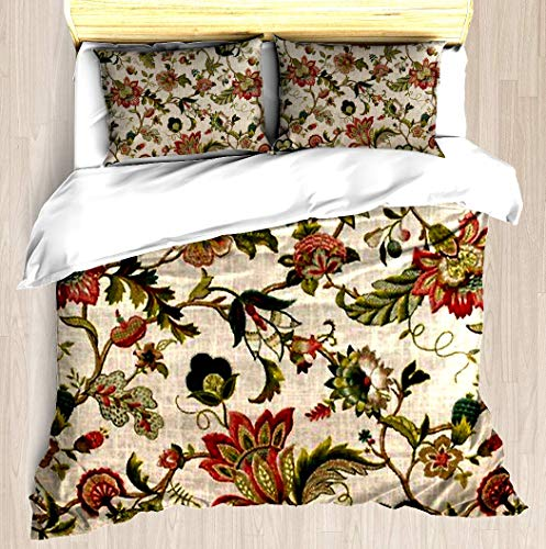 SINOVAL Red Green Jacobean Floral Embroidery Pattern King/Cal-King Brushed Microfiber 1 Duvet Cover 2 Pillow Shams Zipper Closure ()