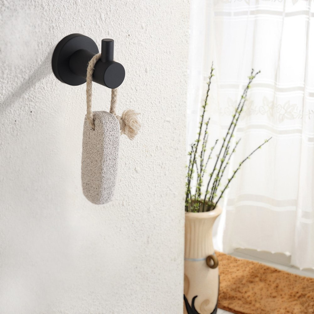 BigBig Home Kitchen Bedroom Bathroom Towel Holder Rail Hooks Matte Black, Heavy Duty Premium 304 Stainless Steel Bathroom Single Towel Hook Wall Mounted.