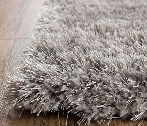 Home Way 5.3-Feet-by-7.3-Inch Thick Plush Shag Area Rug - Silver