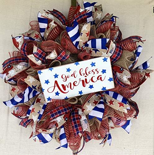 Rustic Patriotic Wreath | Rustic Farmhouse Everyday Decor | Welcome Door Hanger | Farmhouse Decor | FREE Shipping | Burlap Bowtique