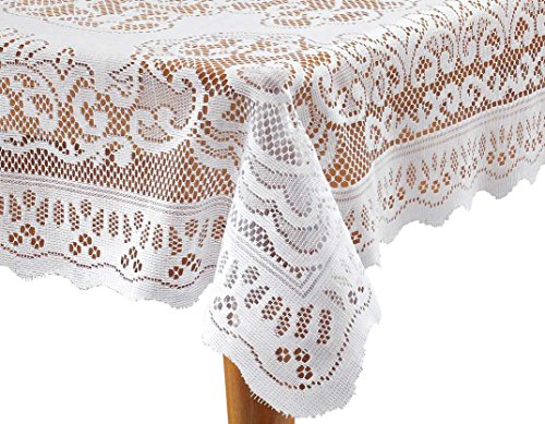 - White Fleur de Lis Lace Tablecloth - 72