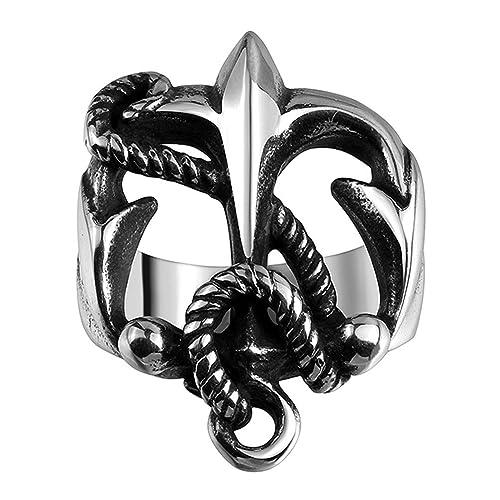 HMILYDYK moda de acero inoxidable gótico cruz cadena declaración anillos de boda banda para hombres mujeres