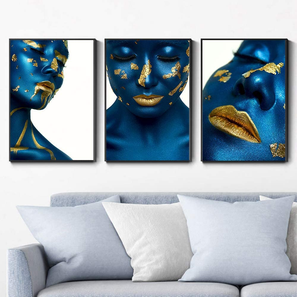 Painting On Canvas Wall Art 3 Panel Sexy Blue Skin Gold Lips Woman Portrait Poster Modern Wall Art Painting Picture Pop Artwork For Living Room Bedroom Home Decor Crafts 20x30cmx3 Unframed Amazon Co Uk Kitchen